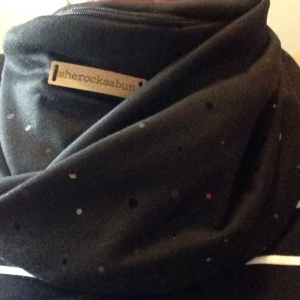 Black sparkling pocket scarf by sherocksabun