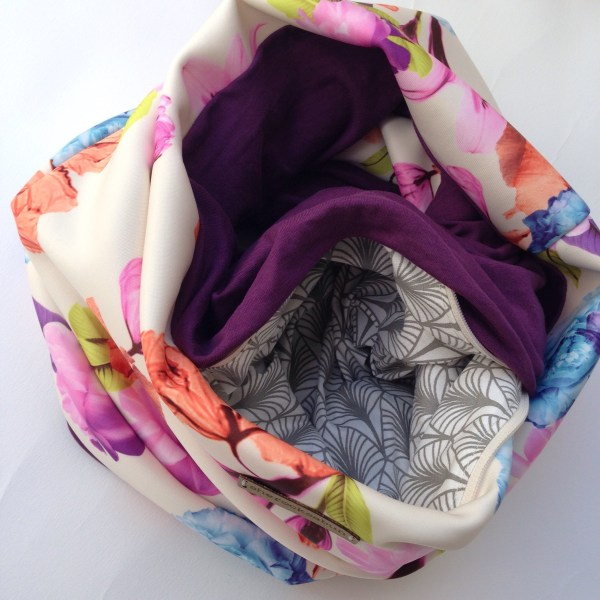 Cream florals - plum pocket scarf
