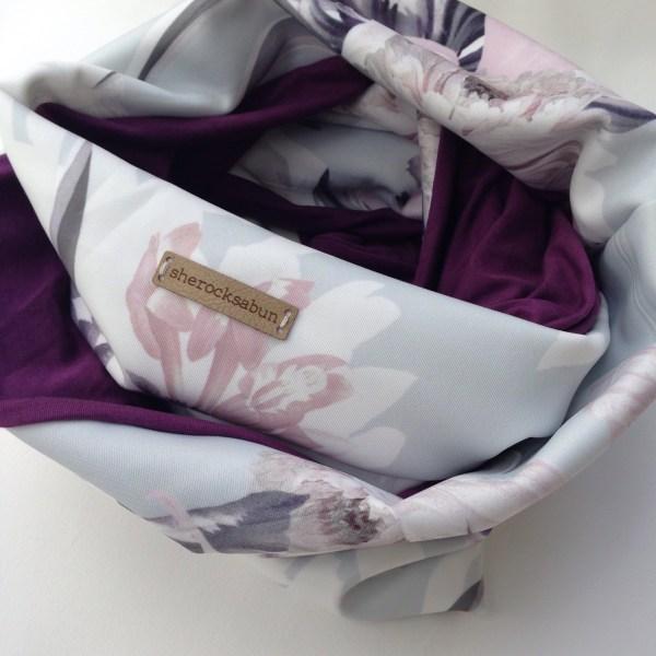 Soft grey - plum pocket scarf