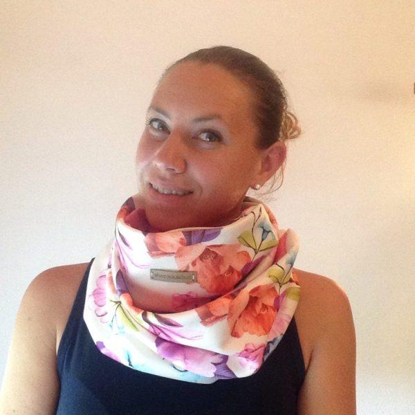 Cream florals - pink pocket scarf