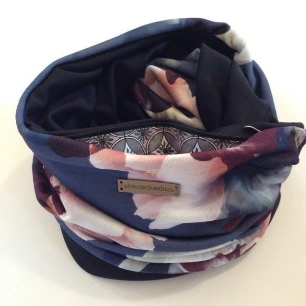 Blue-purple florals pocket scarf - Sini-lila kukallinen taskuhuivi - blå-lila blomster scarf med ficka