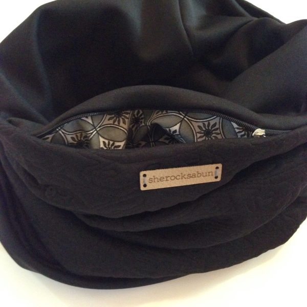 Black jersey-scuba pocket scarf - musta Jersey-scuba taskuhuivi - svart Jersey-scuba scarf med ficka