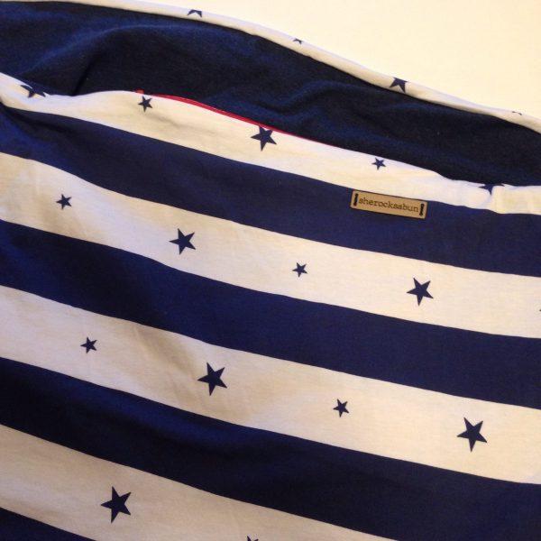 Maritime blue/white cotton Pocket scarf by sherocksabun / taskullinen huivi / scarf med ficka