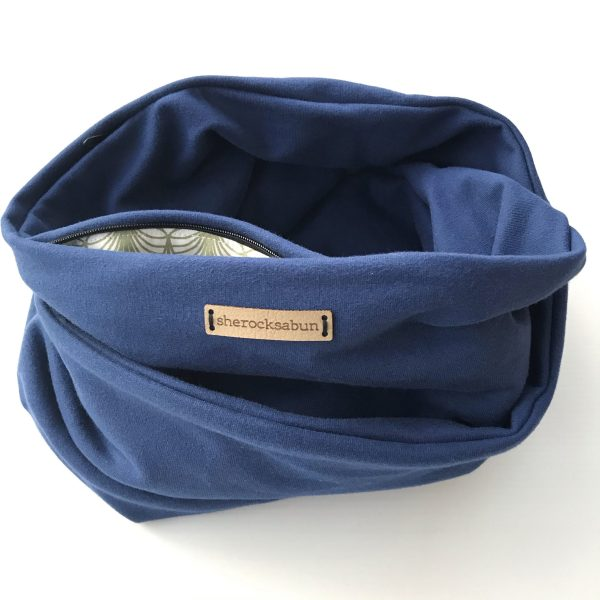 Blue organic cotton pocket scarf by sherocksabun