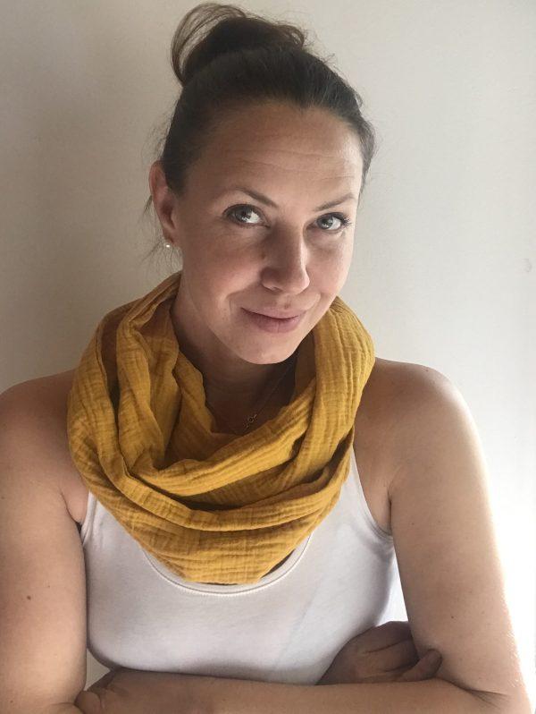 Hello spring cotton pocket scarf by sherocksabun