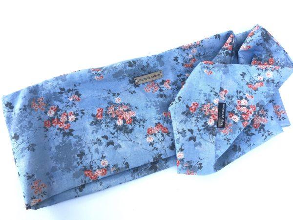 Blue florals pocket scarf by sherocksabun
