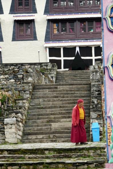 Monk outside monastery