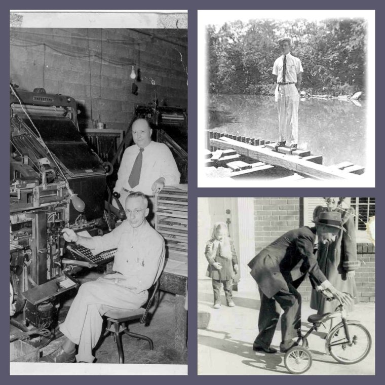 Clockwise L-R: Dad sitting at a linotype machine, Dad at 16, and Dad showing me how to use my new tricycle