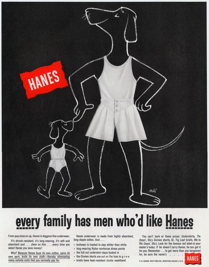 1955 Hanes Ad via Google
