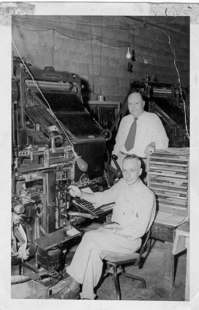 Dad at a linotype machine around 1953