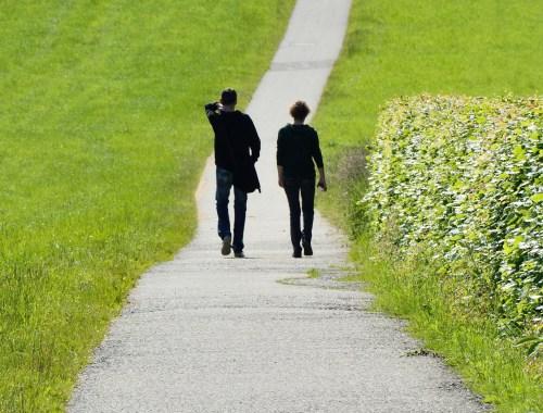 couple, walking, nature