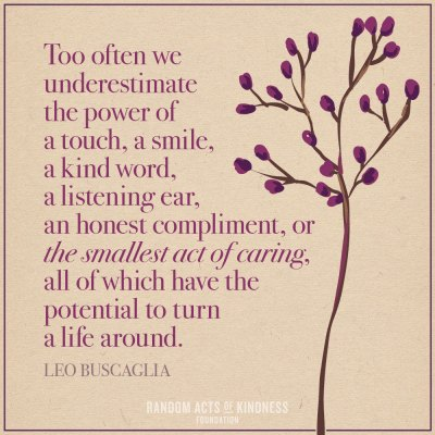 Quote, Leo Buscaglia, power of touch, smile