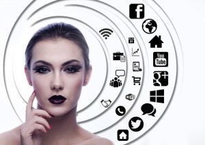 woman and social media icons