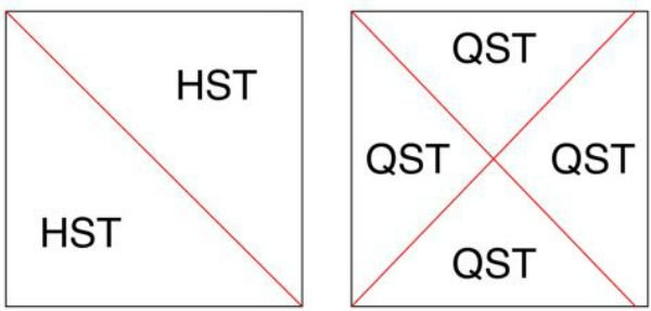 half and quarter square Triangles