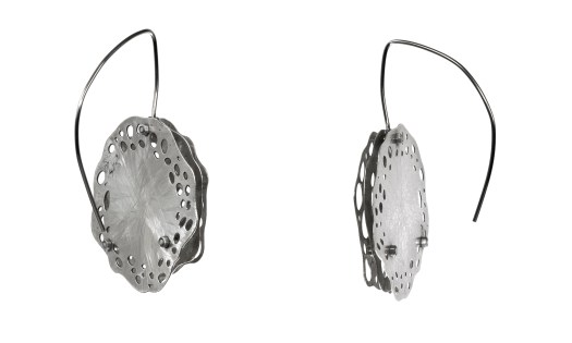 Back and side view of Collosphaera Huxleyi, Müller DMO earrings