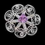 """""""Carousel"""" brooch / pendant hand formed in fine silver and amethyst"""