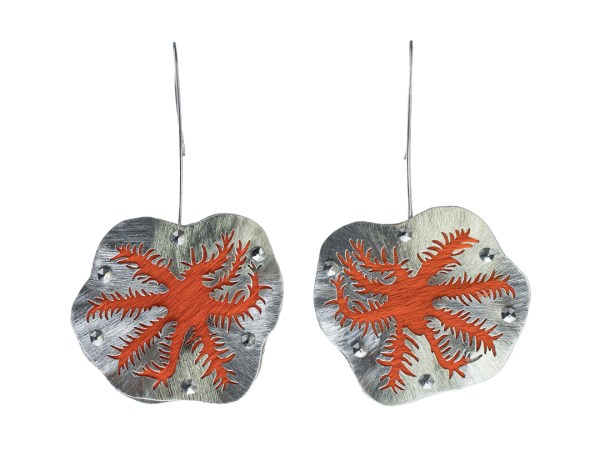 Snowflake Coral Polyp Orange Reaching Earrings in Recycled Sterling Silver, Recycled Leather, with Stainless Steel and Niobium
