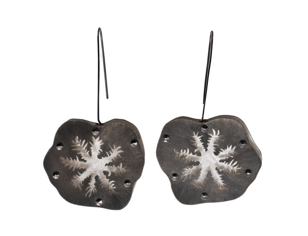 Snowflake Coral Floating Earrings in Recycled Sterling Silver with Stainless Steel and Niobium