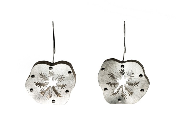 Snowflake Coral Polyps Colonizing Earrings in Recycled Sterling Silver with Stainless Steel and Niobium