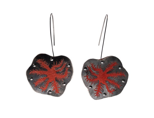 Snowflake Coral Polyps Reaching Earrings in Recycled Sterling Silver and Recycled Coral Suede with Stainless Steel and Niobium