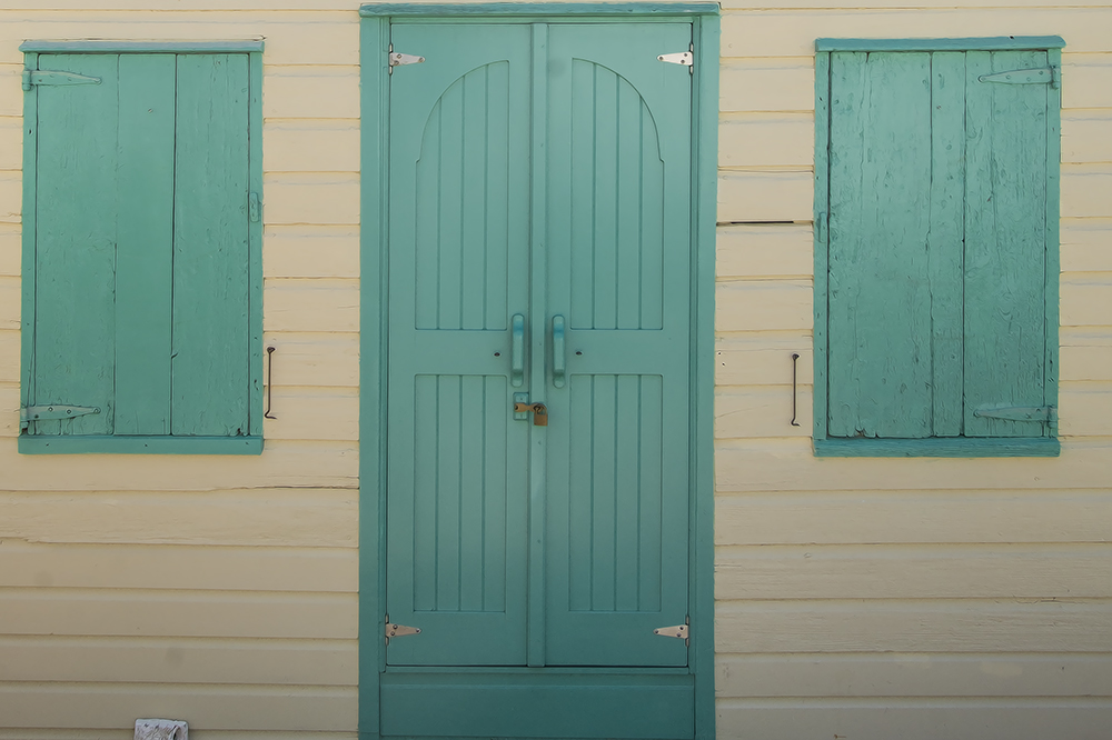 turquoise doors and windows