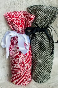 I sewed up some bottle bags to hold local libations...