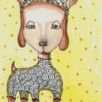 """Art:  ACEO """"Medieval"""" This month's theme is """"Animals With Hats."""""""