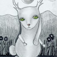 "Art: ""Kin to Jackalope"" graphite, ink"