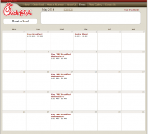 May 2014 Chick-fil-A Event Calendar