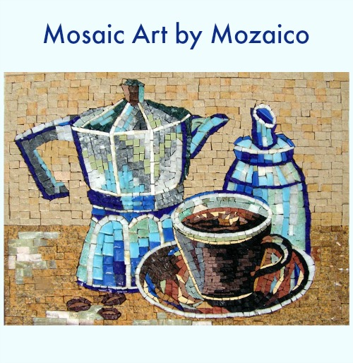 Blue Tea Kettle and Cups Mosaic {Review}