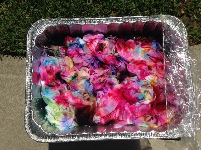Dye sprinkled over ice