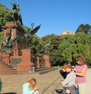 A statue of the revolutionary general who lead an army over the Andes to surprise the Spanish and win independence