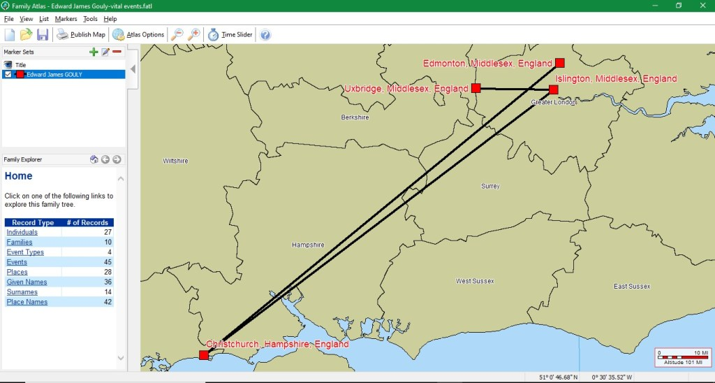 Mapping Software for Genealogy, Part Two_Shersca Genealogy_Family Atlas Person map view