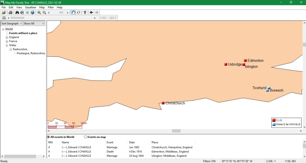 Mapping Software for Genealogy, Part Two_Shersca Genealogy_Map My Family Tree Person map view