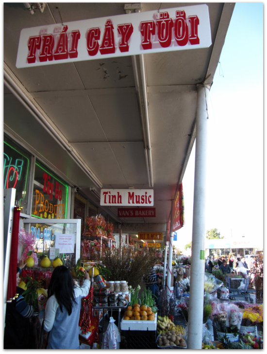 Shops in Little Saigon during Tet