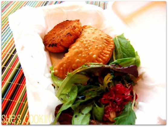 Comb: Potato and Ham Croquette and Chicken Empanada