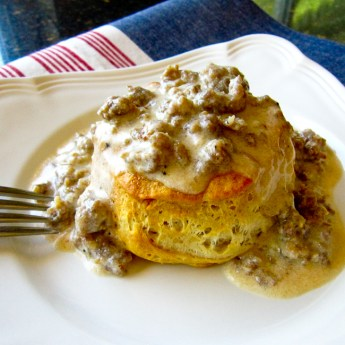 Homemade Biscuits and Gravy | ShesCookin.com