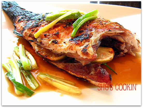 Grilled Red Snapper with soy ginger sauce
