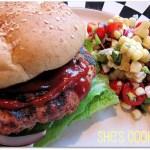 Southwestern turkey burger, corn and tomato salad