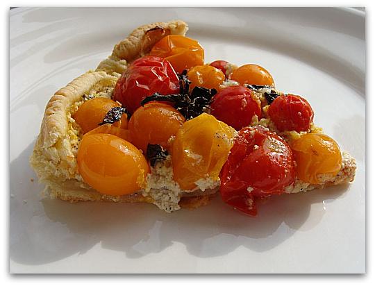 Rustic Cherry Tomato Ricotta Tart Slice ed