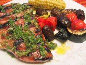 Brined Pork Chops with Parsley Caper Salsa Verde