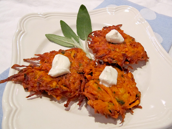 Sweet Potato Latkes and Tips on Making Crispy Latkes | ShesCookin.com