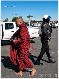 Monk and police officer in Little Saigon