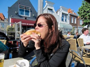 Eating Broodje Haring in the Netherlands