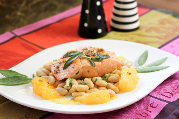 Poached Salmon with Citrus, White Bean + Sage Salad