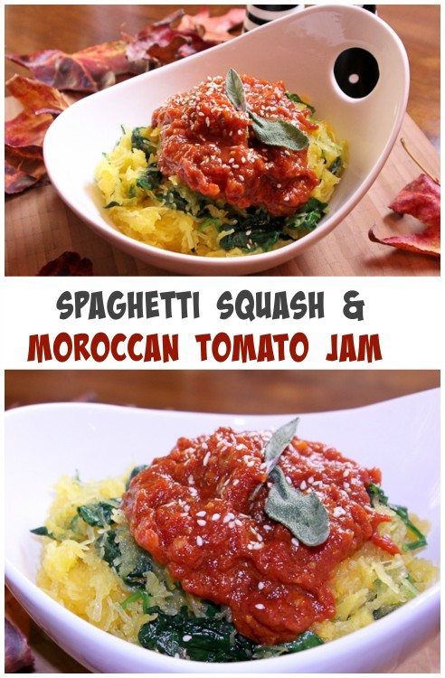 SPAGHETTI SQUASH & MOROCCAN TOMATO JAM | ShesCookin.com