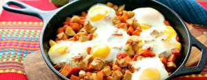 Pork Skillet Hash, breakfast hash, poached eggs and hash
