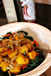 Kale-and-Squash-Salad with Caramelized Onions | ShesCookin.com
