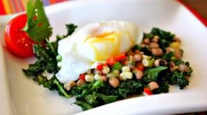 Kale and poached egg, hoppin' john, black eyed pea salsa