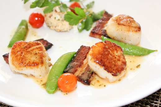 Seared scallops, pork belly, Raya, The Ritz Carlton
